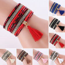 Women Bohemia Multilayer Faux Leather Knitted Tassels Bracelet Bangle Sightly