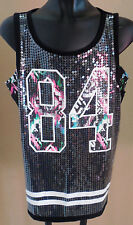 NEW Justice black neon pink sequin front 84 tank top shirt girls size 5 NWT