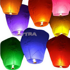 9 Colors Pop Chinese Paper Sky Flying Wishing Lantern Lamp Candle Party Wedding