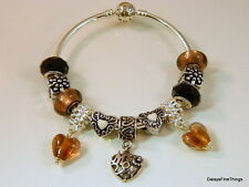 AUTHENTIC PANDORA BANGLE BRACELET W/ CHARMS BLACK GOLD  MOM VALENTINES DAY