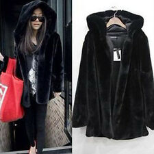 Womens Faux Fur Winter Thick Oversize Parka Black Jacket Hooded Coat Outwear Top