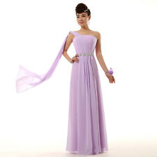 Sexy Long Chiffon Bridesmaid Dresses Gown One Shoulder Evening Cocktail Dress