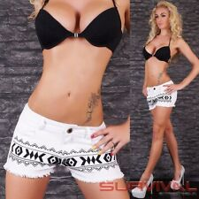 Womens White Denim Hot Pants New Mini Shorts Jeans Sexy Low Rise Size 8 10 12 14