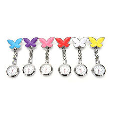 Pop Cute Pendant Butterfly Nurse Clip-on Brooch Quartz Hanging Pocket Watch New