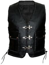 MEN LEATHER WAIST COAT MOTORCYCLE VEST COAT WITH WARPING ALL SIZES