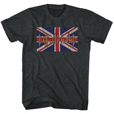 Def Leppard Mens New T-Shirt Union Jack Flag Licensed S/S Black Heather SM - 2XL