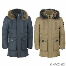 New Mens Puffer Padded Fur Hood Down Jacket Winter Warm Parka Coat Camel Black
