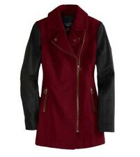 NWT AMERICAN EAGLE S WOMENS RED WOOL MOTO COAT LONG JACKET FAUX LEATHER