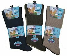 Mens Quality Non-Elastic 100% Cotton Socks 6 to 11 Shoe Assorted Colours