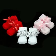 1Pair Newborn Baby Kids Bowknot Lace Socks Cotton Warm Booties For 0-6months