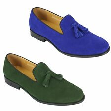 New Mens Real Leather Slip on Smart Casual Tassel Loafers Green Blue Suede Shoes