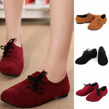Women's Flats Loafers Lace Up Ballet Pumps Casual Deck Single Boat Dolly Shoes
