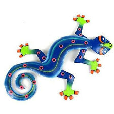 Fair Trade Handpainted Eight Inch Metal Gecko Valentines Day Gift Metal Wall Art