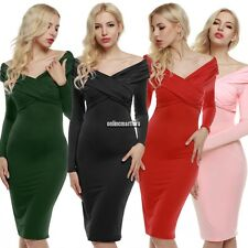 Retro WomenLadies V-neck Long Sleeve Cross Wrap Ruched Midi Dress New ONMF