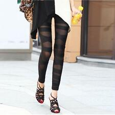 Fashion Women Mesh Gothic Legging Black Punk Rock Elastic Cross Bandage Pants