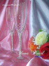 Swarovski Crystal Brilliant Silver Wedding Bride Groom Champagne Glasses Flutes