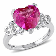 Sterling Silver Created Pink Sapphire and Diamond Accent Heart Ring