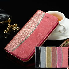 Bling Glitter Crystal Diamond Floral Leather Flip Wallet Case for iPhone 6 6s 5s