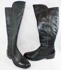 "NEW Womens STEVE MADDEN Shandi 1"" Heels Black Leather 17"" High Boots Shoes"
