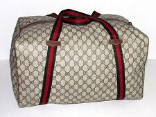 Authentic Vintage GUCCI Web Duffel Travel Gym Bag Suitcase Carry On Luggage