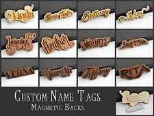 Custom Name Tag ID Badge Magnetic Laser Engraved Cut Wood Personalized Font