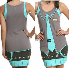 Vocaloid Hatsune Miku Body Hugging Tank Costume Cosplay Dress Juniors XS-XL NEW
