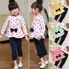 Baby Girls Kids Princess Tops Bowknot Sweater + Pants 2PCS Clothes Outfit Sets