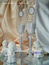 Swarovski Crystal Multicolor Personalized Wedding Champagne Glasses Flutes Gift