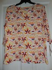 Embellished Printed Knit Top 3/4 Sleeve NEW BY Allyson Whitmore Petite Size PL