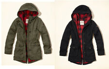 NEW Hollister by Abercrombie Women Flannel Lined Parka Coat