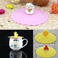 Anti-dust Glass Cup Cover Mug Suction Seal Lid Silicone Cartoon Airtight Spoon!