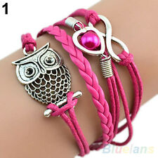 Cute Infinity Owl Heart Pearl Leather Charms Multilayer Bracelet Gift Healthy