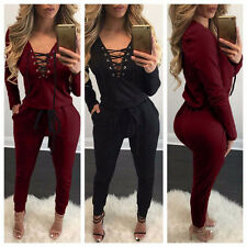 New Sexy Womens V-Neck Bandage Romper Pants Lace Up Party Jumpsuit  Rompers