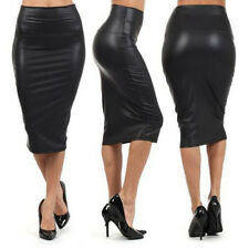 WomensPU Leather High Waist Knee Length Straight Package Hip Pencil Skirt Dress@