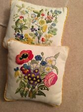 2 Vintage Cushions  Floral Embroidered By Hand