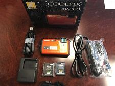 Nikon COOLPIX AW100 16.0 MP Digital Camera - Orange  - NO RESERVE