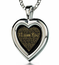 925 Sterling Silver Pendant Black Heart I Love You Cubic Zirconia Valentines Day