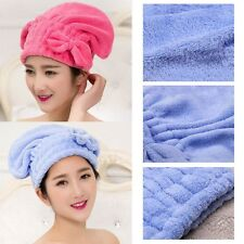 Multi-color Coral  Velvet Quick Dry Cap Drying Wrap Hair Towels Bow