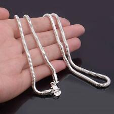 Punk Women/Men 3mm Snake Chain Silver Plated Necklace