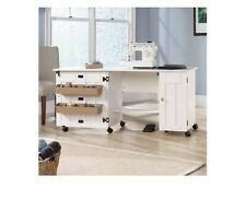 Sewing and Craft Table Storage Machine Desk Shelves Folding Cabinet White Brown