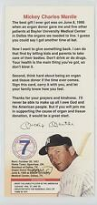 1995 Foundation Card #NoN Mickey Mantle (With Donor Form Attached) Baseball