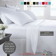180 THREAD COUNT PERCALE NON IRON BOX FITTED VALANCE PLEAT SHEET & FITTED SHEETS