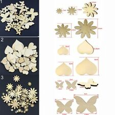 50Pcs  Sizes Fitted Craft Buttons Scrapbooking Wood Flower Butterfly Heart