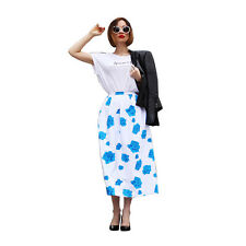Womens Vintage Stretch High Waist Flower Casual Party Pleated Long Chiffon Skirt