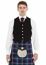 New Black Argyle Kilt Waistcoat Mens Scottish 5 Button 100% Wool