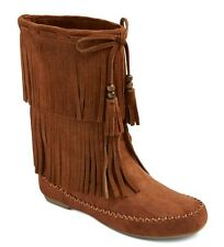 MOSSIMO SUPPLY Womens Brown Kaylee Fleece Lined BOHO Fringe Moccasin Boots - NEW