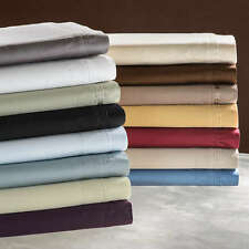 "600-Thread-Count 1PC Super Soft Fitted Sheet Solid 100% Cotton 15"" Deep Pocket"