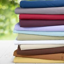 """600-Thread-Count 1PC Super Soft Fitted Sheet Solid 100% Cotton 18"""" Deep Pocket"""
