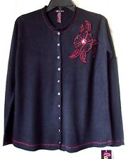 BRAND NEW LAYERS by NEXT ERA EMBELLISHED SWEATER CARDIGAN RED/BLACK SIZE S