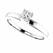 BRILLIANT 0.23ct I-J I1 Diamond Round 14K White Gold Solitaire Engagement Ring